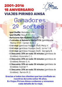 CARTEL 2 SORTEO 15 ANIVERSARIO VIAJES PIRINEO AINSA