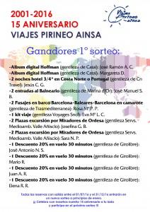 PRIMER SORTEO 15 ANIVERSARIO VIAJES PIRINEO AINSA